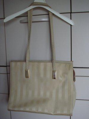 Vintage - Pronta Moda - Tasche Shopper leicht goldig schillernd Streifen