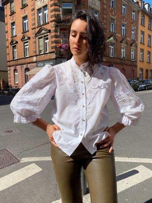 Vintage puffärmeln embroidery bluse