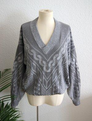 Vintage Pullover Grautöne, grafischer Oversizepullover, 80er