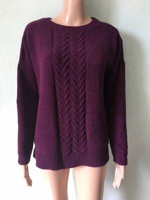 Vintage Warkoczowy sweter brązowo-fioletowy