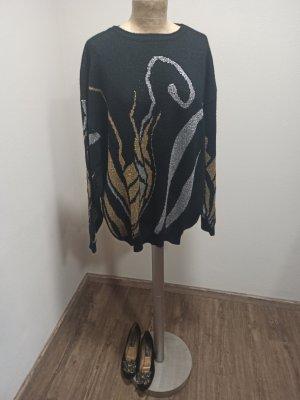 Vintage Pullover schwarz gold silber Glitzer Gr. S M L