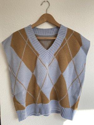 Vintage Smanicato lavorato a maglia azzurro-marrone chiaro