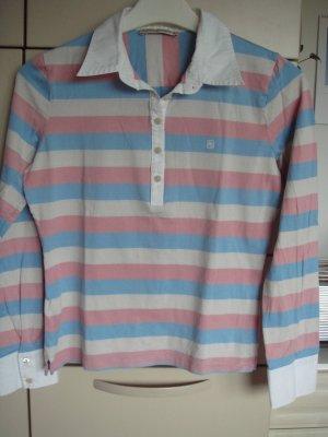 Vintage  -  Purificacion Garzia  Pullover  Pulli Polo Shirt Gr. 38  rosa hellblau weiß  gestreift  - Gr. M