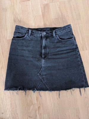 Vintage Raw Hem Jeans Rock Schwarz Fransen XS 34