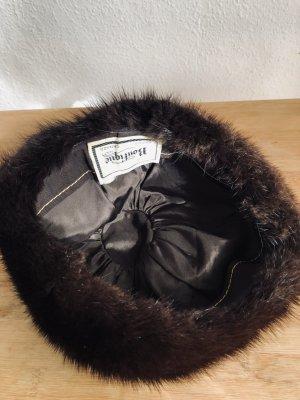 Cappello in pelliccia marrone scuro-verde scuro Mohair