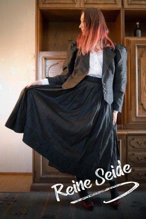 Vintage Reine Seide zweiteiliger Anzug Kostüm Tracht Schwarz Rock Blazer L XL