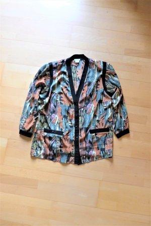 Vintage Glanzende blouse veelkleurig
