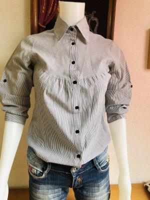Vintage Shirt Blouse white-grey