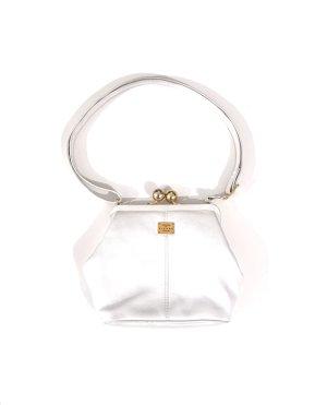 Vintage Retro Picard Echtleder Tasche Clipverschluss Weiß gold edel chic