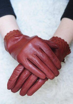 Vintage Gants en cuir orange foncé-rouge cuir