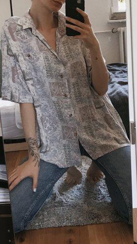 Vintage Camisa de manga corta blanco puro-azul pálido