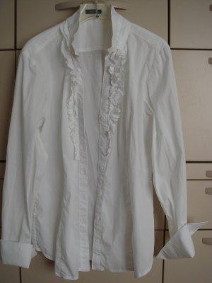 Vintage - RIANA Bluse mit Rüsche Gr. 42/44 schneeweiß - edel