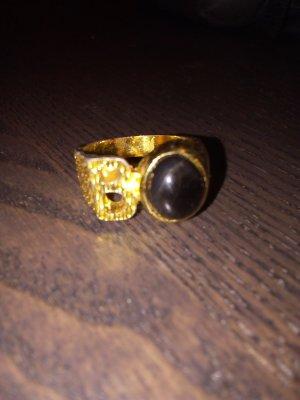 Vintage Ring mit B Buchstaben und schwarzer Stein