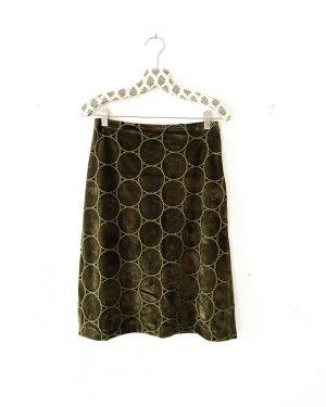 vintage rock • knielang • dunkelgrün • velours • high waist