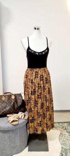 Vintage Plisowana spódnica czarny Poliester