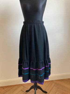 Vintage Spódnica midi czarny-niebiesko-fioletowy Poliester