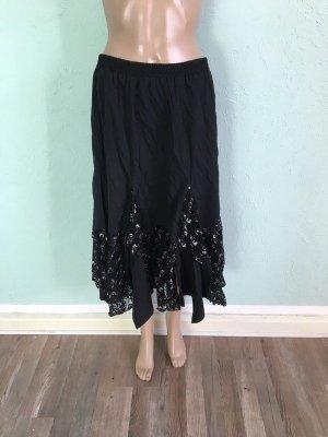 Spódnica z falbanami czarny-srebrny Tkanina z mieszanych włókien