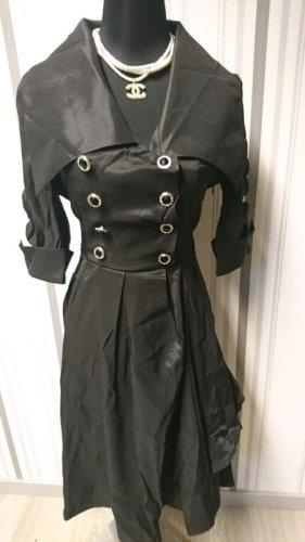 Vestido con enagua negro tejido mezclado