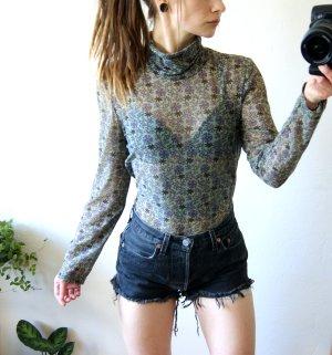 Vintage Rollkragen-Shirt transparent, florales Chiffonshirt, boho 70er