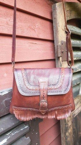Vintage Rotbaune Boho Ledertasche mit Fransen und Verzierung Umhängetasche Crossbody Bag