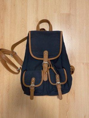 Vintage Sac à dos mini brun-bleu foncé