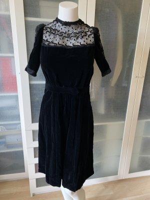 Vintage Samt Kleid mit Spitze Gr 36 top