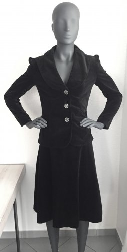 Traje para mujer negro-color plata tejido mezclado