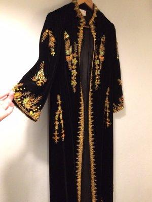 VINTAGE Samt Mantel Kimono mit Handbestickten Applikationen M L 38 40 42 aus NY NP 399$