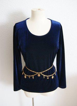 Vintage Samtpullover dunkelblau, Sweater matter Samt, blogger alternative
