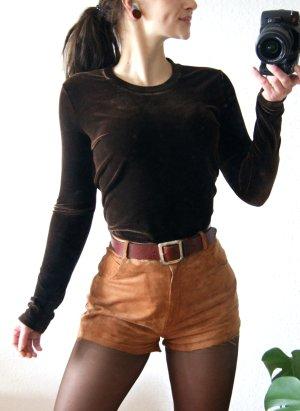 Vintage Samtshirt dunkelbraun, schokobrauner Pullover Samt, preppy grunge blogger