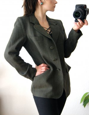Vintage Sch*rwollblazer jagdgrün, preppy Blazerjacke dunkelgrün, herbst alternative Jackett preppy
