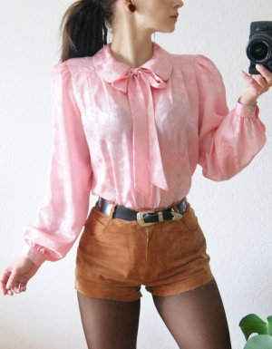 Vintage Schluppenbluse rosé, florale oversized Bluse bonbon, preppy 20er alternative