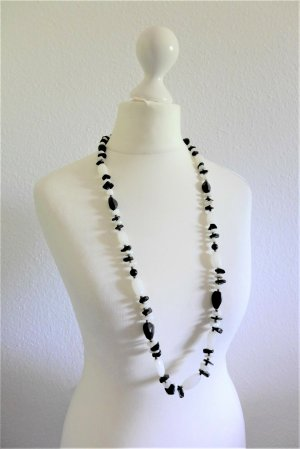 Vintage Schmuck Halbedelstein Kette Perle 60er weiß schwarz