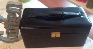 Valise noir-rouge carmin cuir
