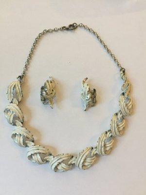 Vintage Schmuck-Set Blätter Silber-Weiß Collier und Ohrclips