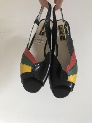 Vintage Schöne Peeptoe-Sandalen mit Slingback-Verschluss und bunten Streifen