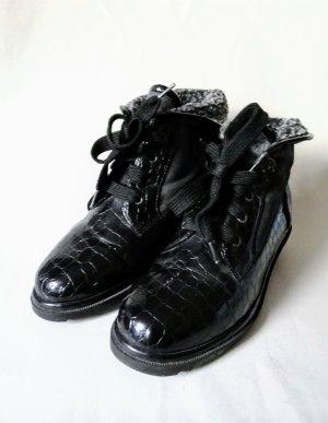 Vintage Zapatos brogue negro-gris oscuro