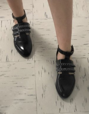 aus Italien Moccasins black-silver-colored leather