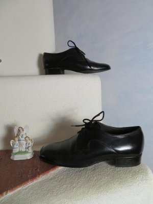 Vintage Schwarz Flach Obermain Germany Gr. 6,5/40 Leder Schnürer Schuhe - Flats - Lace ups