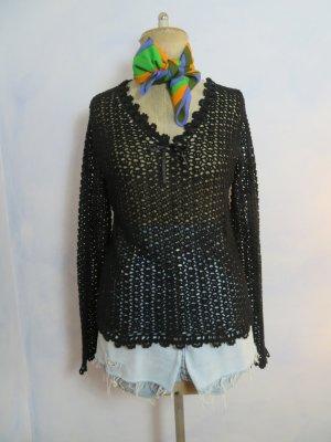 Vintage Schwarz Handhäkel Pullover Tulpenärmel - Größe L/42 - Lace Baumwolle Pullover - 70er Jahre Boho Style