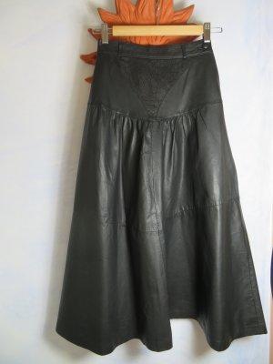 Vintage Schwarz High Waist Rock 100% Soft Leder Weit Schwingend Gr. 34 32 Bahnenrock Herbst