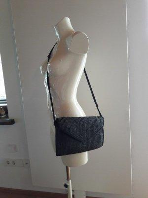 Vintage schwarze geflochtene Umhängetasche Handtasche