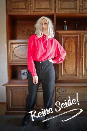 Vintage Seide Bluse langarm Retro Pink Goldknöpfe XL oversized