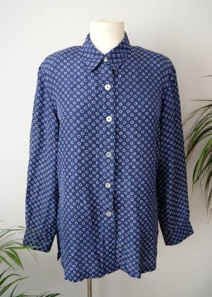 Vintage Seidenbluse blau gepunktet 90er, gemusterte Bluse reine Seide, preppy blogger