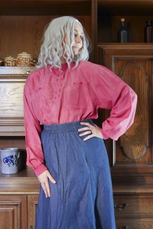 Vintage Seidenbluse langarm sportlich rosa pink hoher Kragen oversized