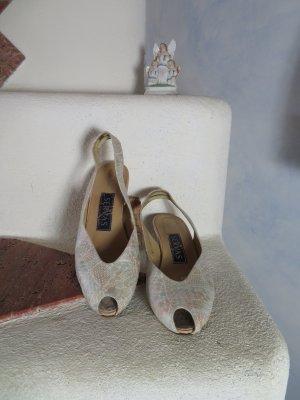 Vintage Servas Peeptoe 100% Echtleder Pumps Gr. 37 Nude Beige Muster Vintage Hochzeit