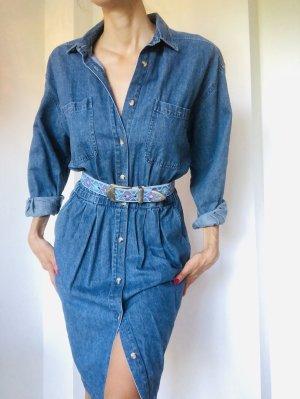 Vintage Set Jeanskleid und Gürtel 80ies 80er