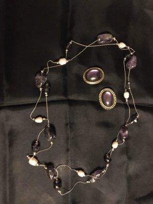 Vintage Set Kette und Ohrclips silber lila violett Steine Naturperlen Amethyst