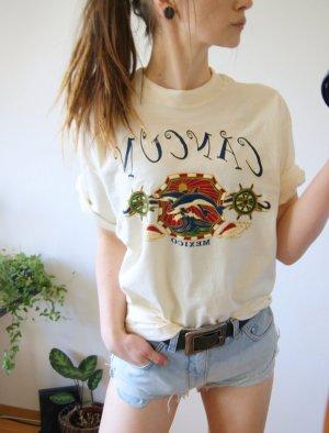 Vintage Shirt Cancun beige, Mexiko oversized Shirt maritim, 90er hippie alternative