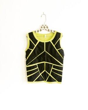 vintage shirt / leder patches / neon / grün / gelb / schwarz / tank top